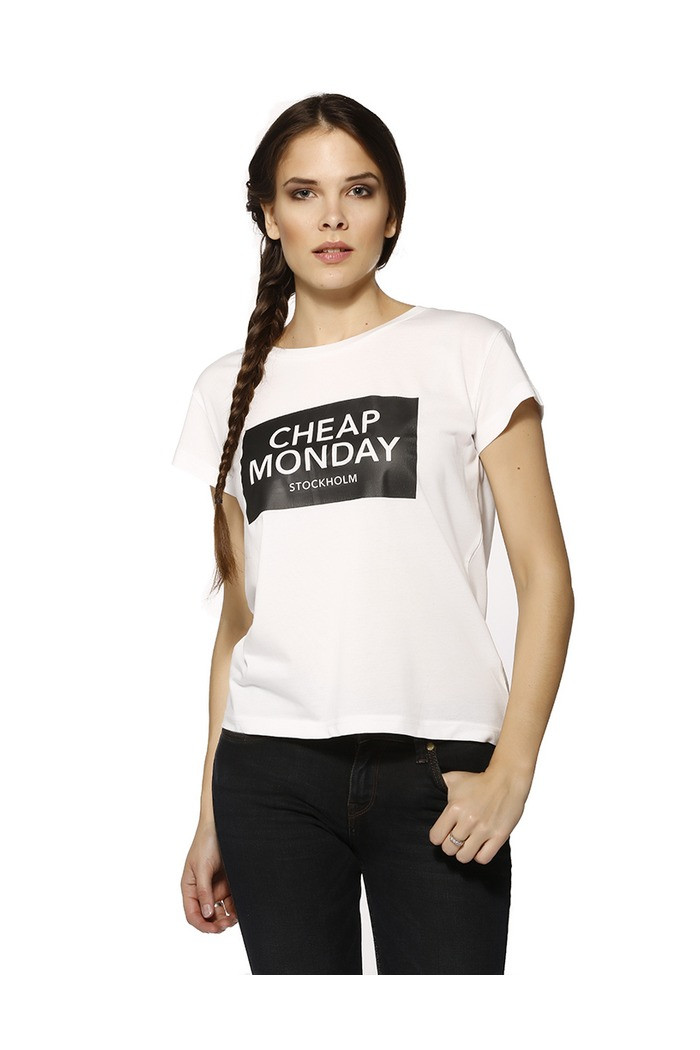 T-shirt Cheap Monday T-shirt col rond blanc pour femme