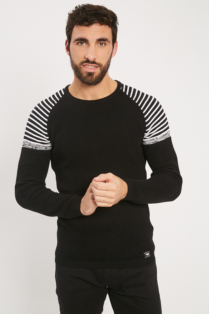 Pull, Gilet Paname Brothers Pull noir et blanc  pour homme