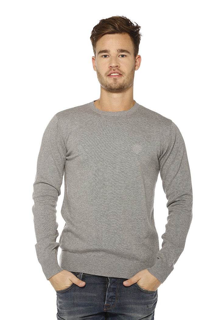 Pull, Gilet Schott Pull col rond gris pour homme