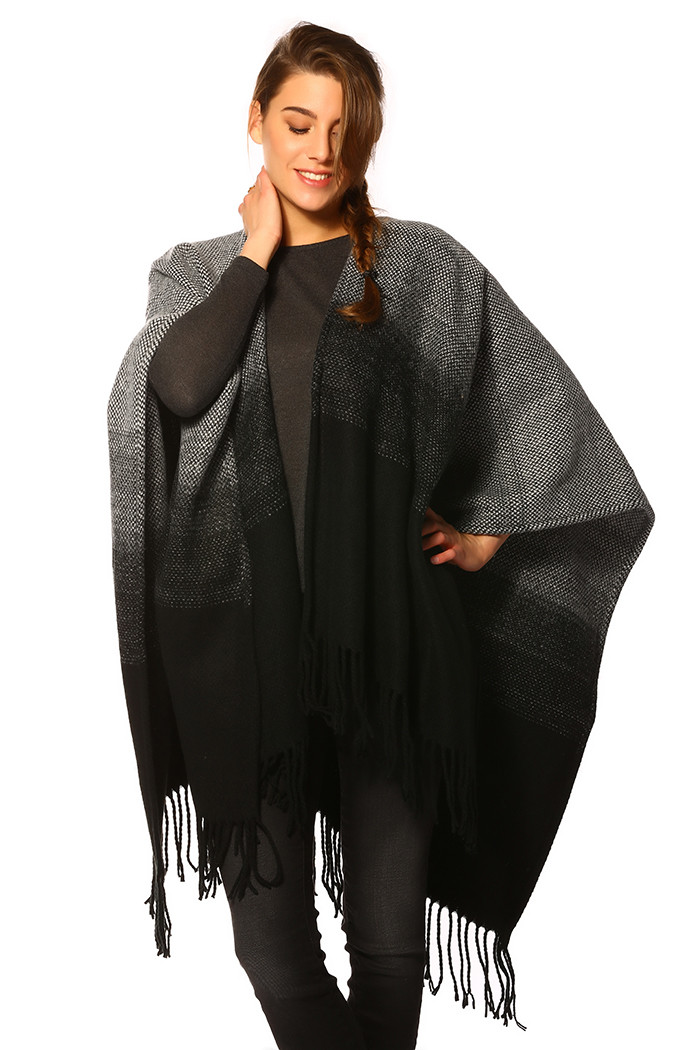 Pull, Gilet Only Poncho Weaved Black pour femme
