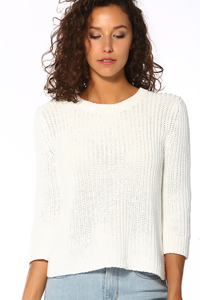 Pull, Gilet Levi's Pull manches 3/4 blanc pour femme