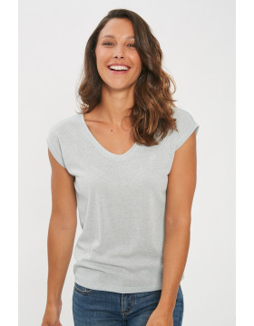 SILVERY SS VNECK LUREX TOP_MORNING MIST