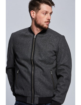 WOOL BOMBER_GREY MELANGE