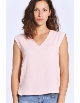 MILENA S/S V-NECK TOP D2 LCS_SEPIA ROSE/SOLID