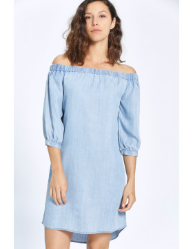 JANICE OFF SHOULDER DNM DRESS QYT_LIGHT BLUE DENIM