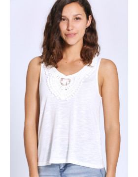 ISA S/L CROCHET TANK TOP JRS_CLOUD DANCER
