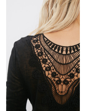 PETRA 3/4 CROCHET TOP _BLACK/DTM CROCHET