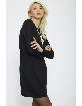 YASTA LS BODYCON DRESS_BLACK/W BLACK L