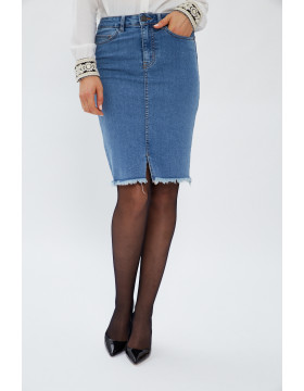 LEXI HR MB PENCIL SKIRT_MEDIUM BLUE DENIM