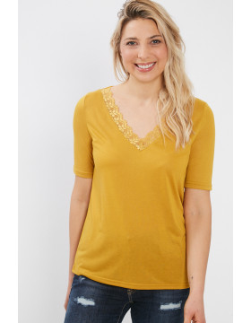 KIM TREATS 2/4 VNECK TOP_HARVEST GOLD